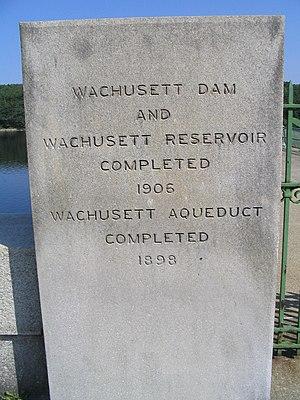 Wachusett Dam - Image: Wachusett dam plaque