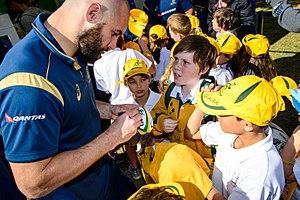 Scott Fardy - Wallaby Scott Fardy and fans in 2014