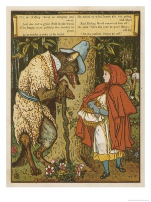 English: Little Red Riding Hood Meets the Wolf...