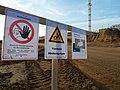 Warning signs at open pit mine Hambach.jpg