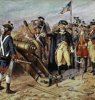 Siege of Yorktown - Washington firing the first gun