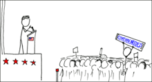 "Stick figure and line-art drawing of a United States politician addressing a crowd.  One of the crowd is holding up a sign with the Wikipedia phrase ""[Citation Needed]"". The original strip displayed with the tooltip ""SEMI-PROTECT THE CONSTITUTION""."