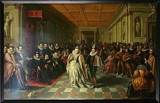 Anne de Joyeuse - Wedding of Anne de Joyeuse with Marguerite de Vaudémont, 24 September 1581 in Le Louvre. On the left under the dai are Henry III, Catherine de Médicis, and Queen Louise. French school 1581-1582.