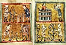 Photographie montrant une illustration médiévale du travail de la vigne: en haut à gauche, la taille et l'attachage de la vigne et en bas le travail du sol. En haut à droite, le pressurage du raisin et en bas, les vendanges.