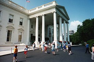 White House Visitors Office - A June 1994 tour group exits the White House.