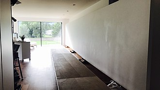 Helmut Ditsch -  White canvas of Helmut Ditsch's new painting (2 x 12 metres)