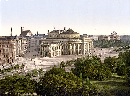 Colour lithograph of Vienna, 1900 Wien Burgtheater um 1900.jpg