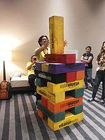 Wikimania 2015-Wednesday-Volunteers play Weasel-Jenga (4).jpg