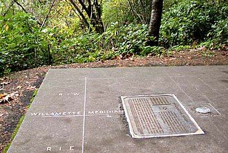 Willamette Stone - The Willamette Stone's location is now commemorated by a circular marker and plaque.