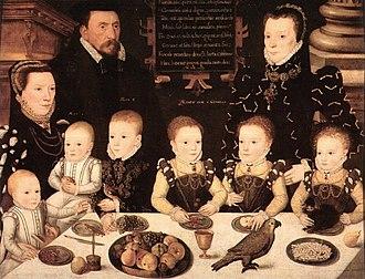 William Brooke, 10th Baron Cobham - Portrait of William Brooke and his Family, 1567.