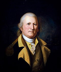 A head and shoulders portrait of William Moultrie.  Painted in middle age, he wears a military uniform jacket that is blue with gold trim.