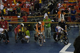 Cycling at the 2012 Summer Olympics – Women's Keirin - Riders before a heat