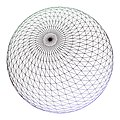 A finely tassellated wireframe sphere featuring over 5000 sample points.