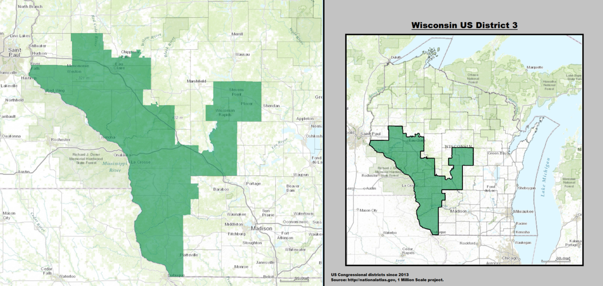 Wisconsins Rd Congressional District Wikipedia - Boundary map for wisconsin 2nd district us house of representatives