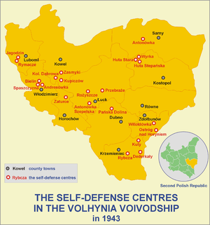 The self-defense centres in the Volhynia Voivodship in 1943