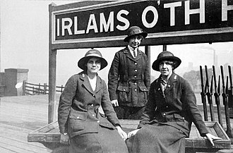 Irlams o' th' Height railway station - Station Mistress and two porters at Irlams o' th' Height railway station, 1917