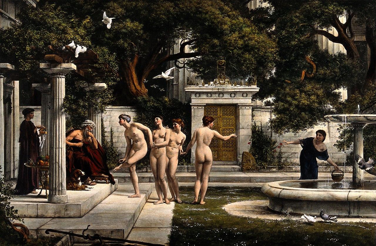Женщины консультируют Ðскулапа.  Цветопередача краски Wellcome V0036062.jpg