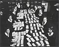 Women sorting cheques in the basement -- (A document for times gone if ever there was one), National Bank, Head office, 279 Collins Street, Melbourne, 1953 - Wolfgang Sievers (9781004031).jpg