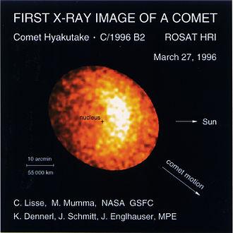 Comet Hyakutake - X-ray emission from Hyakutake, as seen by the ROSAT satellite.