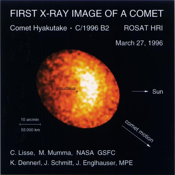 Рентгеновское излучение кометы Хякутакэ, по данным аппарата ROSAT.