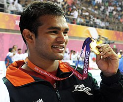 XIX Commonwealth Games-2010 Delhi (Men's) Wrestling 74Kg Freestyle N.P. Yadav of India won the gold medal, at Indira Gandhi Stadium, in New Delhi on October 09, 2010.jpg