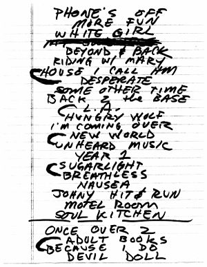 Set list - Set list by X at The TLA in Philadelphia