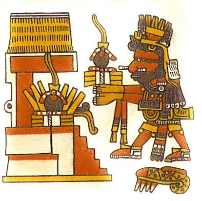 Xiuhtecuhtli, Codex Borgia, 14, w rubber balls offering