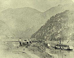 Front Street, Yale, British Columbia circa 1882 during the construction of the Canadian Pacific Railway.