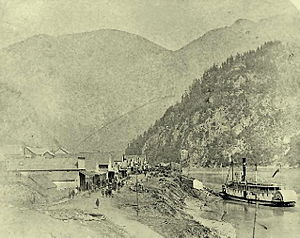 Yale, British Columbia - Front Street, Yale, British Columbia circa 1882 during the construction of the Canadian Pacific Railway.