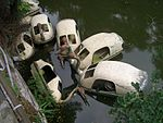 Yangzhou - old pedalo boats in a canal - CIMG3398.JPG