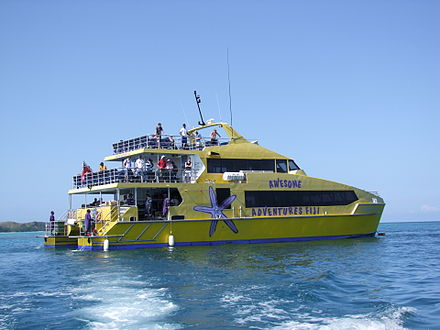 The Yasawa Flyer connects Port Denarau near Nadi with the Yasawa Islands. Yasawa Flyer Ferry.jpg