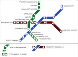 Схема линий метро г. Екатеринбург.