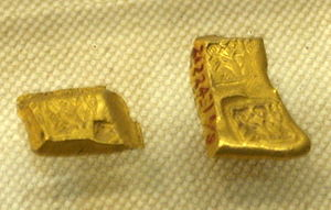 "Ancient Chinese coinage - Gold coins marked with ""Ying yuan"". ""Ying"" being the name of the Chu capital."