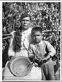 Yokut Indian women basket maker and her son home from school, Tule River Reservation near Porterville, California, ca.1900 (CHS-3798).jpg