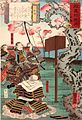 Yoshitsune with followers under the cherry-blossoms.jpg