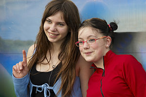 English: Smiling teenage girls. Photo taken on...