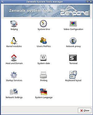 Zenwalk - Zenpanel, a system configuration utility.