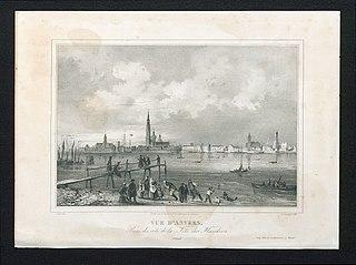 Zicht op de stad en de rede van Antwerpen vanuit het Vlaams Hoofd (Linkeroever)