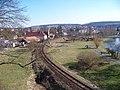 Zruč nad Sázavou, pohled zpod zámku podél trati.jpg