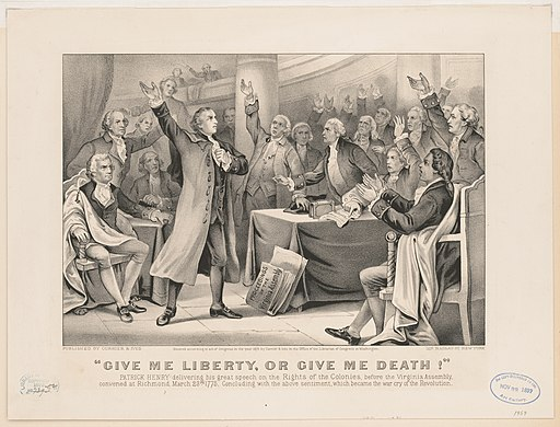 """Give me liberty, or give me death!"" Patrick Henry delivering his great speech on the rights of the colonies, before the Virginia Assembly, convened at Richmond, March 23rd 1775, concluding LCCN2001700209"