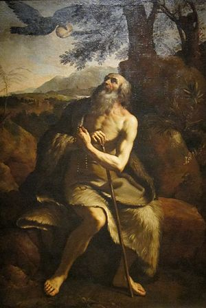 Christian monasticism - 'St. Paul the Hermit Fed by the Raven', after Il Guercino, Dayton Art Institute