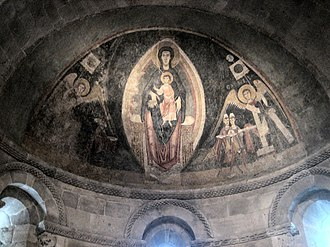 Romanesque art - Master of Pedret, The Virgin and Child in Majesty and the Adoration of the Magi, apse fresco from Tredòs, Val d'Aran, Catalonia, Spain, c. 1100, now at The Cloisters in New York City.