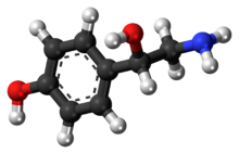 Ball-and-stick model of the octopamine molecule