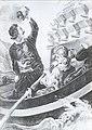 Ο Ιάκωβος Τομπάζης πυρπολεί το πρώτο τουρκικό δίκροτο. Λιθογραφία. Peter Von Hess..jpg