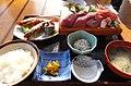 御前崎「紀行茶屋」の紀行定食(お刺身がとても厚切りです) - panoramio.jpg