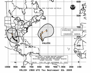 Tropical cyclone forecasting - Hurricanes Rita and Philippe shown with 1-2-3 rule predictions.