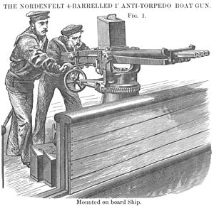 Quick-firing gun - Woodcut depicting Royal Navy gunners in action with the 1-inch Nordenfelt gun, the first practical QF gun.