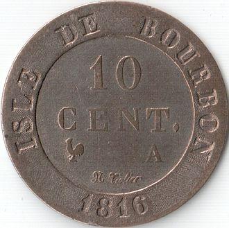 Réunion - 1816 ten cent coin, Isle de Bourbon