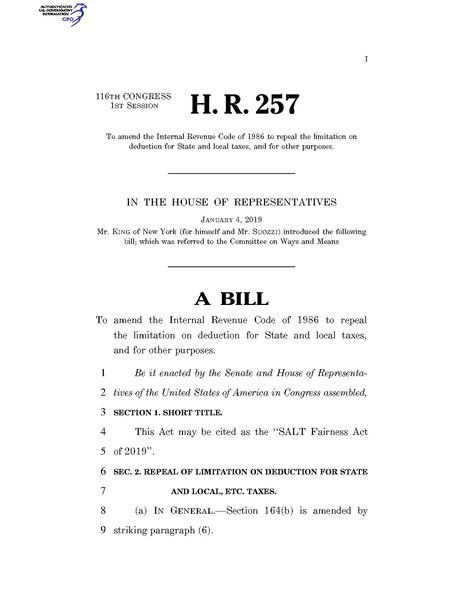 File:116th United States Congress H. R. 0000257 (1st session) - SALT Fairness Act of 2019.pdf