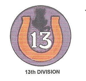 "13th Division (United States) - Shoulder Sleeve Insignia of the 13th Division, featuring a horseshoe and a black cat, in keeping with the organization's tongue in cheek nickname, ""Lucky 13th""."